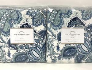 New~2 Pottery Barn Paige Palampore Linen Cotton Drapes~Blue 50x84