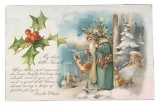 Vintage Christmas Postcard - Santa in Green Carrying Christmas Tree 1907