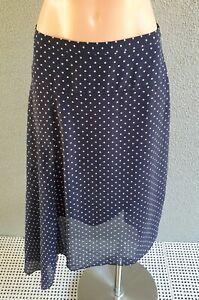 ❤️ PORTMANS Casual A-Line Midi Skirt Navy Polka Dot Size 8 Buy7=FreePost L902