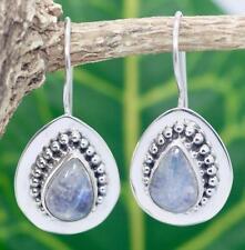 Handmade Sterling Silver .925 Bali Med Teardrop Dangle Earrings w Moonstone.