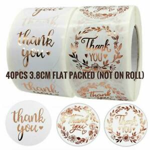 40pcs 3.8cm Thank You Sticker Thank you Business Large Floral Rose Gold Sticker