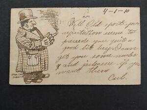 Missouri: Poplar Bluff 1910 Postal Card, Hand Drawn Man Smoking a Cigar