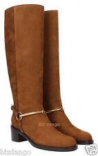 "$1595.00 GUCCI Women's Suede Brown W/ Horse Bit Nut Brown Boots 37+ U.S 7.5"""