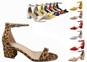 NEW Women's Open Pointed Toe Ankle Strap Chunky Low Heel Dress Sandal Size 5 -10