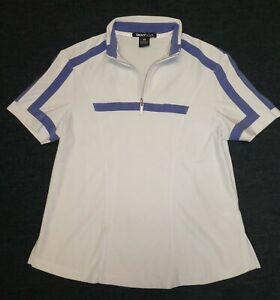 DKNY Golf women's white/purple 1/4-zip short-sleeved golf shirt Sz XS
