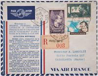 RRARE LETTRE MERMOZ 1ER JOUR 22 4 1937 YT 337 338 OB LOSANGE AIR FRANCE VIGNETTE
