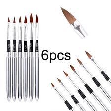 6Pcs Professional Acrylic Nail Art Design Brush Pen Detachable Lid Tool Set Kit