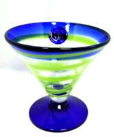 Kosta Boda Blown Art Glass Martini Blue Green Swirl Cocktail Gift Bar Barware 2