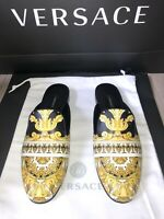 Authentic Women's Versace Calf Leather Barocco Slip On Mules Shoes UK 5 RRP £580