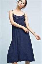NWT Anthropologie Lacausa navy blue Tonal Leopard Print Satiny Midi Slip Dress L