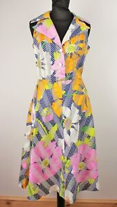 Vintage 50s 60s Floral and Polka Dot Mod Festival Small A Line Tea Dress Sz 8 10