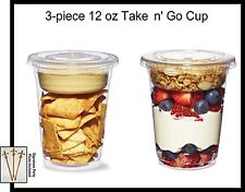 25-pack TAKE n' GO Cup, Plastic 12 oz Parfait, Snack Cup w/Insert and Flat Lid