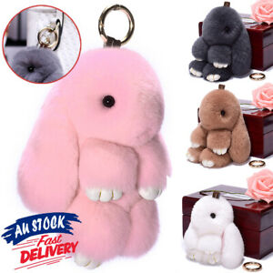 Adorable Charm Plush Fluffy Rabbit Pendant Keychain Fur Bunny Bag Toy Keyring