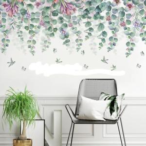 Green Leaves Purple Flowers Wall Stickers Bedroom Nursery Decals Art AU