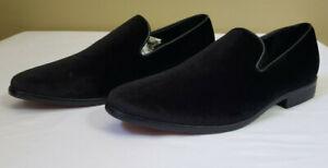 Alberto Fellini Black Velvet Dress Shoes Loafers Sparko 03 Size 9.5 Men's Tuxedo