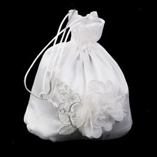 Ivory Satin Embroidery Flower Bride Dolly Bag Wedding Bridesmaid Handbag