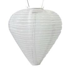 Soji – Silk Effects 12″ Teardrop Solar Lantern, White