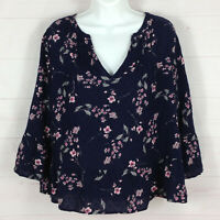 GAP womens size S floral navy blue pleated v-neck 3/4 bell sleeve cotton blouse