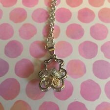 Crystal Rhinestone Teddy Bear Silver 20 inch Chain Pendant Necklace