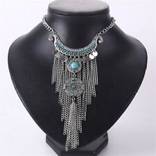 N72 Hot Boho Turquoise Beads Bib Necklace Statement Collar Bohemian Coin Silver