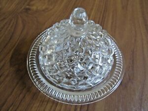 """Vintage Pressed Glass BUTTER DISH and LID. 5"""" diameter, 3½"""" high, Unbranded"""