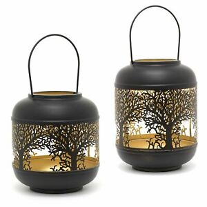 Black Metal Tree Of Life Cut Out Hurricane Candle Lantern   Candle Holder