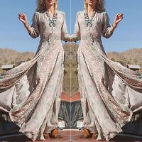 FASHION WOMEN LADIES bohemian boho V-neck chiffon maxi dress long beach loose