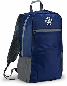 Genuine Volkswagen 000087329F Folding Backpack Bag, Blue, 20 Litres, with VW Log