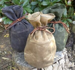 Medium Waxed Canvas Sami Style Pouch Bushcraft Survival Camping Fire Kit Gaming