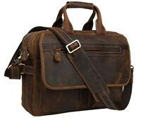 Herren echtem Leder Laptop Aktentasche Schultertasche Handtasche Umhängetasche