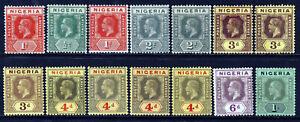 NIGERIA King George V 1914-21 Die I Wmk Mult Crown CA Group SG 1 to SG 8b MINT