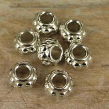 50 x CCB Plastique Perles Intercalaires Argenté large 9 mm x 14 mm Kumihimo Bobble NP15