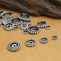 10 Sterling Silver Round Gear Beads 925 Silver Geek Spacer Bead 5mm 7mm 9mm 11mm