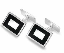 Sterling Silver Onyx Rectangle Cufflinks
