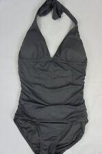 DKNY Swim One Piece Sz 4 Steel Grey Shirred Halter Maillot Swimsuit D62381