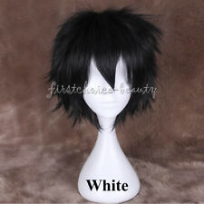 Male Female Short Straight Cosplay Wig Anime Party Hair Wig Black Blonde White f