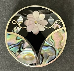 Mother Of Pearl Abalone & Opal Pin & Pendant Signed Alpaca Mexico