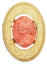 Anhänger Gold 750 Brosche Koralle Damenantlitz geschnitzt schöne Goldbrosche