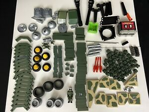 Fisher Price Construx Building Toys Lot 1980s Military Vehicle Parts Army Figure