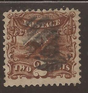 US Sc# 113 used  2c Pony and Rider, 2 scans, cv$80.00