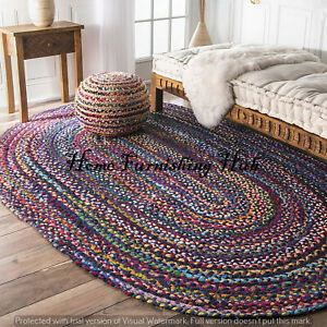 Braided Dhurrie Mat Oval Handmade Multi-Cotton Rug Tepich Carpet Area Rag Rugs