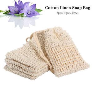 5/10/20X Mesh Natural Sisal Soap Saver Bag Exfoliator Foaming Pouch Eco-Friendly