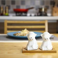 Ceramic Salt and Pepper Shakers Set in Adorable Cow Shape with Bamboo Tray
