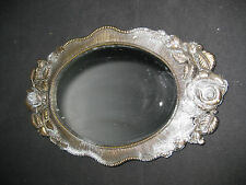 """Vintage Metal Rose Edged Oval Desk Mirror 10"""" x 6"""" Tarnished"""