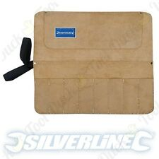 "SUEDE LEATHER TOOL ROLL 8 Pockets Secure Ties 17"" x 15"" Genuine Quality Pouch"