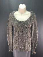 Women's DKNY Jeans Gray Knit Long Sleeve Sweater Hoodie Size S Small