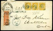 1884 Canada Registered Mail Postal Cover - Bullseye Postmarks