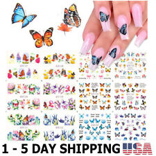 12 Sheets Butterfly Nail Art Stickers Nails Supply Water Transfer Nail Decals
