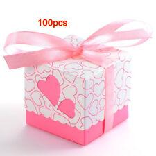 100X Bomboniera a cuori battesimo matrimonio tavolo decorazione rosa + nast Q0S8