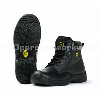 VA High Ankle Black Leather Work Safety Boots Steel Toe Cap Mid Sole S3 SRC New